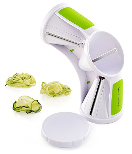 Maestoware Tri-Blade Spiral Slicer - Spiralizer Cutter Veggie Pasta Maker Cuts Zucchini & Other Vegetables into Spaghetti, Fettuccine & Julienne Ribbons - Easy to Use