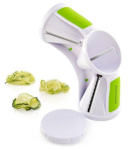 Maestoware Tri-Blade Spiral Slicer - Spiralizer Cutter Veggie Pasta Maker Cuts Zucchini & Other Vegetables into Spaghetti, Fettuccine & Julienne Ribbons - Easy to Use