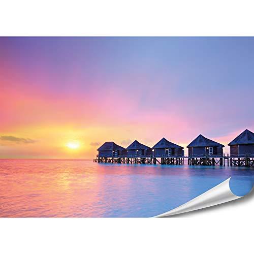 PMP 4life. Karibik Poster   140x100cm   hochauflösendes XXL Foto-Poster tropischer Beach Resort Malediven, Natur Plakat extra groß, XL Wand-Bild   Wand-deko Bild Meer Urlaub relaxen Sonnenuntergang