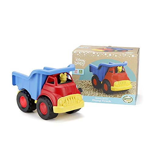Green Toys Disney Baby Exclusive Mickey Mouse Dump Truck, Red/Blue - Pretend Play, Motor Skills, Kids Toy Vehicle. No BPA, phthalates, PVC. Dishwasher Safe, Recycled Plastic, Made in USA.