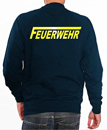 feuer1 Sweater Feuerwehr in Navy mit gelb reflektierendem beidseitigem Schriftzug mit langem F