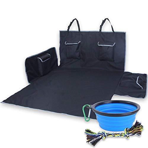 4 Paw Lovers Kofferraumschutz Hund (182x170) - große Kofferraummatte (schwarz) mit Ladekantenschutz - praktisches Hunde Zubehör für den Kofferraum