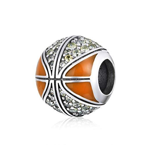 Charm in argento Sterling 925 smaltato nero con cristalli di pallacanestro, baseball, calcio, compatibile con braccialetti Pandora e Argento, colore: C, cod. SC-666