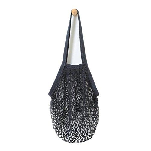 Einkaufstasche Netztasche,Hffan Neu Mesh Tasche Kette Tasche Beutel Wieder Verwendbar Obst Tasche Beutel Tank,Netz Tuch Wiederverwendbar Einkaufen Mesh Tasche Umhängetasche (38 * 48,2 cm, Schwarz)
