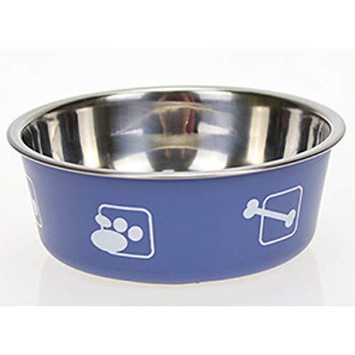 Cane Garden Stainless Steel Metal Non Slip Dog Puppy Pet Animal Feeding Food Water Bowl Dish (Blue Medium)