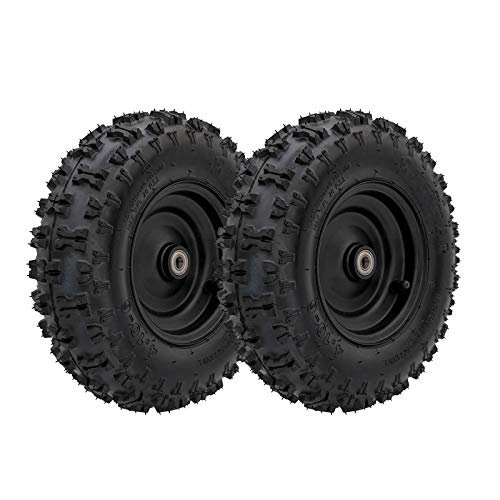 WPHMOTO 2PCS 4.10-6 Go Kart ATV Tubeless Tire with Rim and 6001ZZ Bearings | Front Tires Rims for Scooter Quad Bikes 4 Wheelers