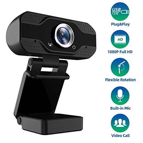 1080P Full HD Webcam with Microphone, USB Web Camera Streaming Computer Camera for Windows Mac PC,120 Degrees Wide-Angle 30fps, Large Sensor Superior Low Light for Video Calling Conferencing Gaming