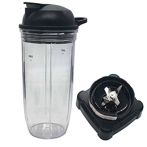 new style extractor blade with 32 oz cup and spout lid for Ninja Professional 72oz Countertop Blender BL660W/BL660W/BL660/BL740/BL770/BL771/BL773CO/780 (Large, Rubber)