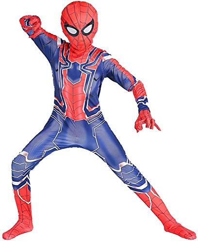 ZXDFG Niños Spiderman Disfraz,Superhéroe Spider-Man Halloween Navidad Cosplay Suit,Adecuado para Niños De 8 A 12 Años,Spandex/Lycra,H-(90~100) cm