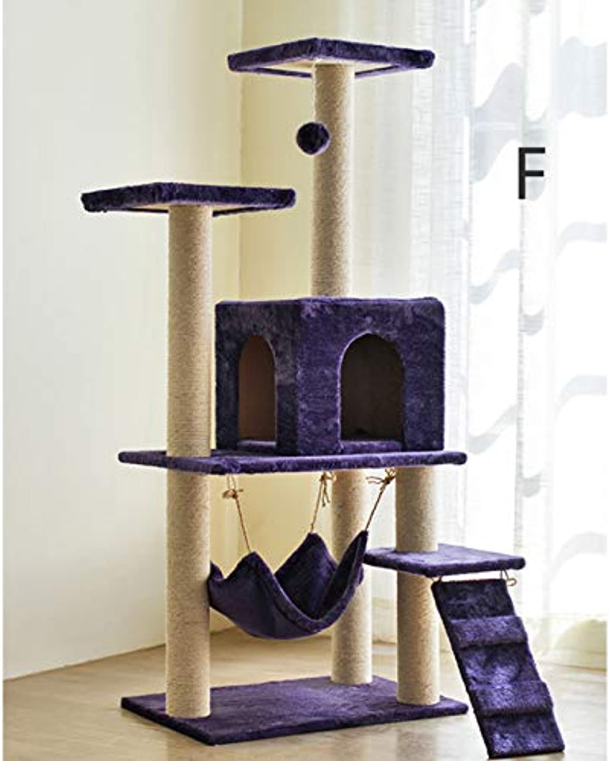 LiRongPing Cat climbing frame, cat scratch board, cat toy, cat room pet supplies color selection (color   F)