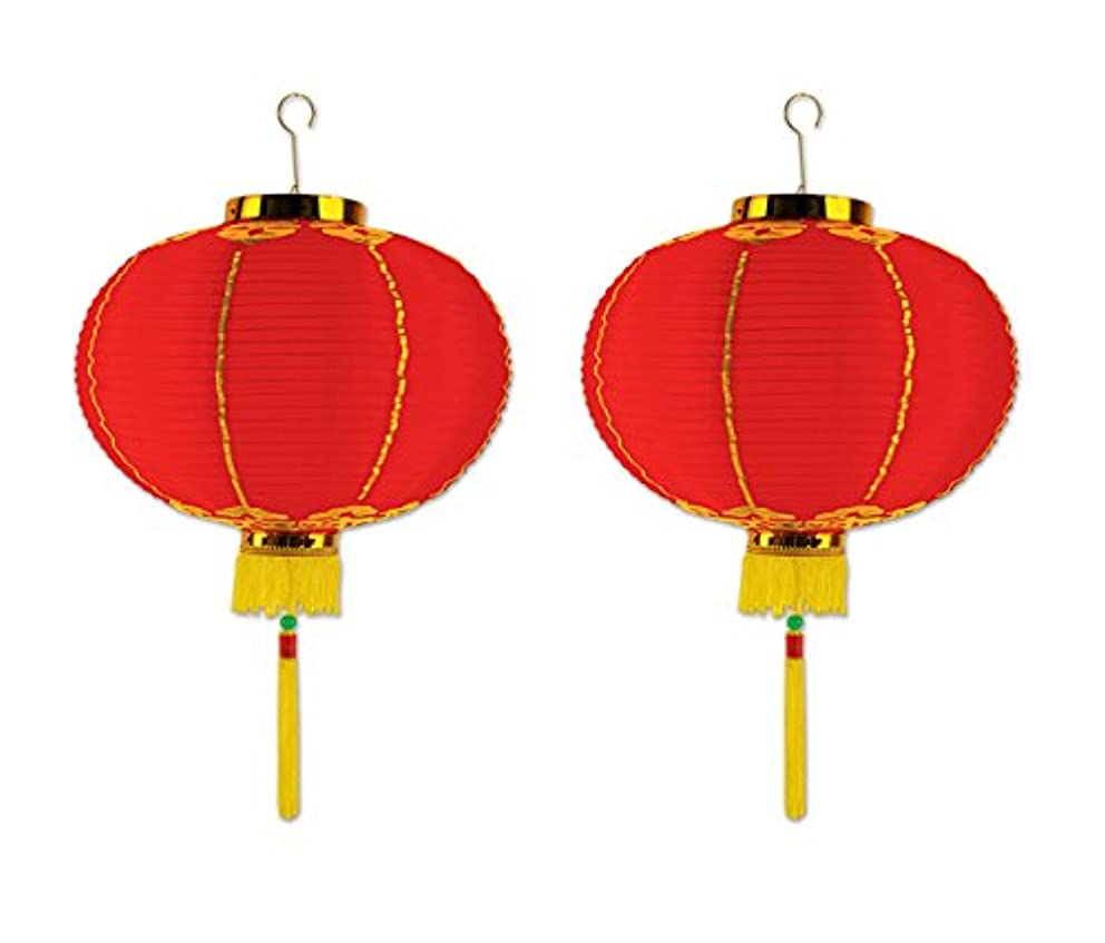Beistle S50678-16AZ2, 2 Piece Good Luck Lanterns with Tassels, 16
