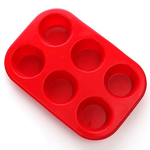Silicone Muffin Pan, European LFGB Silicone Cupcake Baking Pan, 6 Cup Muffin, Non-Stick Muffin Tray, Egg Muffin Pan, Food Grade Muffin Molds, BPA Free Muffin Tins Red