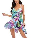 Aidotop Costume da Bagno Tankini Gonna Bikini Set Beachwear Push Up Halter Swimsuit da Mar...