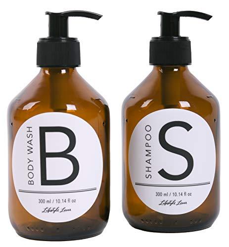 Lifestyle Lover, Confezione da 2 dispenser di sapone in vetro marrone, color ambra per sapone, Plastica, 2er Pack Body Wash 300ml & Shampoo 300ml