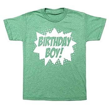 Happy Family Clothing Superhero Birthday Boy Comic Book Hero Party T-Shirt  S  6/8  Heather Green