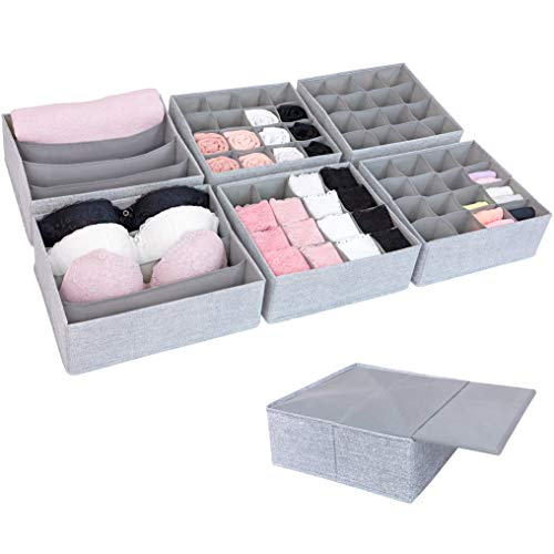 SIMPLE JOY Schubladen Organizer für I K E A P a x Kleiderschrank; Stabiler Boden; Ordnungssystem für Socken, BH, Unterwäsche; Aufbewahrungsboxen, Stoffboxen in grau