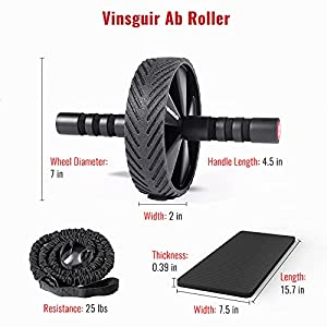 Vinsguir Super Stable Ab Roller for Abs Workout, Ultra-Wide Ab Roller Wheel, Ab Wheel Roller for Core Workout, Exercise Wheel for Home Gym, Ab Workout Equipment for Abdominal Exercise