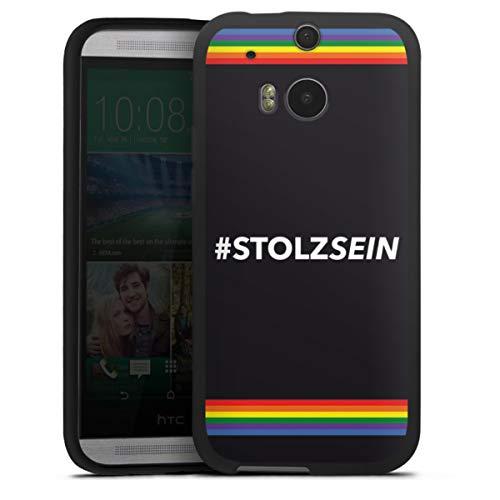 DeinDesign Silikon Hülle kompatibel mit HTC One M8s Hülle schwarz Handyhülle Kerstin OTT Regenbogen Statement