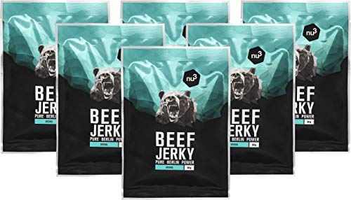 nu3 Beef Jerky Original - BBQ Taste 6x 50g Trockenfleisch/Dörrfleisch vom grasgefütterten Weiderind - Low Carb 4%, Low Fat 3,7% - satte 51% Rind Protein - deftig gewürzt mit Zwiebeln, Senf und Honig