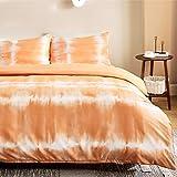 Bedsure Funda Nordica Cama 150 - Funda Edredon Cama 135 Moderna Estampada Tie Dye, Ropa de Cama 220x230 cm con 2 Fundas Almohadas 40x75 cm, 3 Piezas, Blanca y Naranja
