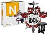 Lean Toys Kit de batería con micrófono y silla roja
