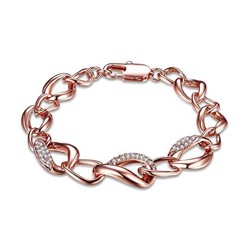 Oro rosa bracciale, bracciale da donna, Rose Gold Plated, Rhinestone piuttosto Bracciale regalo per bambine o Donna