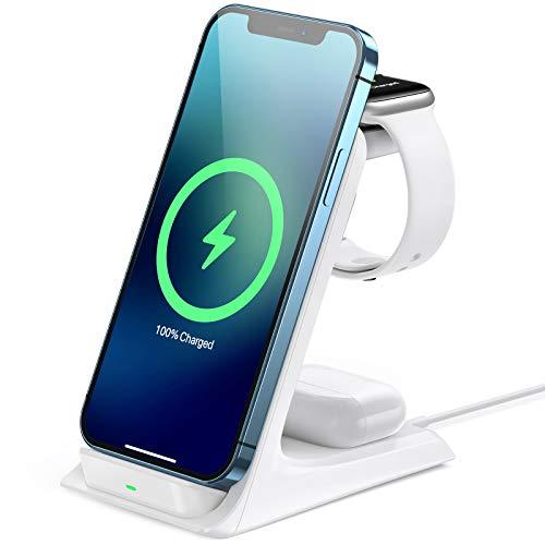 AGPTEK 15W Cargador Inalámbrico Rápido, 3 en 1 Estación de Carga Rápida Qi para iPhone 12/12 Mini/12 Pro/11/11, Samsung Galaxy S8/S9/S10/S20, Airpods Pro/2, Apple i Watch SE/6/5/4/3/2, Blanco