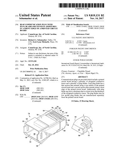 RJ-45 communication plug with plug blades received in apertures in a front edge of a printed circuit board: United States Patent 9819131 (English Edition)
