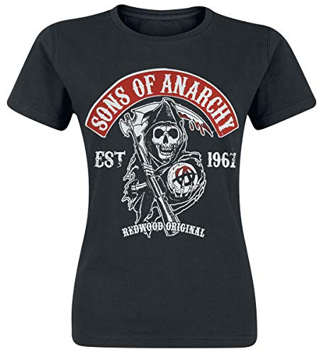 Sons of Anarchy Shirt De Las Mujeres Redwood Original Patch Oficial Negro