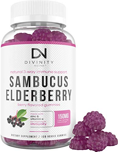 Sambucus Black Elderberry Gummies with Zinc and Vitamin C - Herbal Supplement for Immunity - Max Strength Antioxidant and Immune Support for Adults and Kids - 120 Gummies (2 Month Supply)