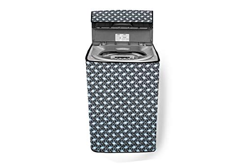 Stylista Washing Machine Cover Compatible for LG 11.0 Kg Inverter Fully-Automatic Top Loading THD11STB Interlocked Ropes Pattern Grey
