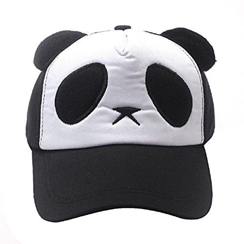 Kolylong® Kind Jungen Mädchen Baumwolle Cute Panda Baseball Cap (Schwarz)