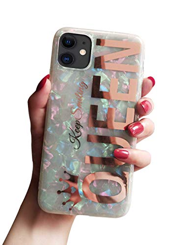KITATA Glitter Sparkling iPhone 11 Case for Women Girls Rose Gold Queen Print Girly Design, Soft TPU Silicone Hybrid Protective Sparkle Slim Cover Pearly-Lustre Shell Colorful Iridescent Cute
