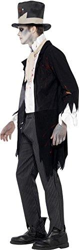 SMIFFYS Smiffy's 24352M - Fino Giacca Death Do Us Part Zombie Sposo Costume con Gilet Sciarpa Pantaloni e Cappello a Cilindro, Nero, M