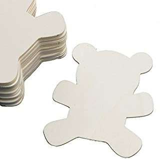 Factory Direct Craft Group of 24 Unfinished Wooden Teddy Bear Cutouts for Kids Crafts, Creating and Embellishing