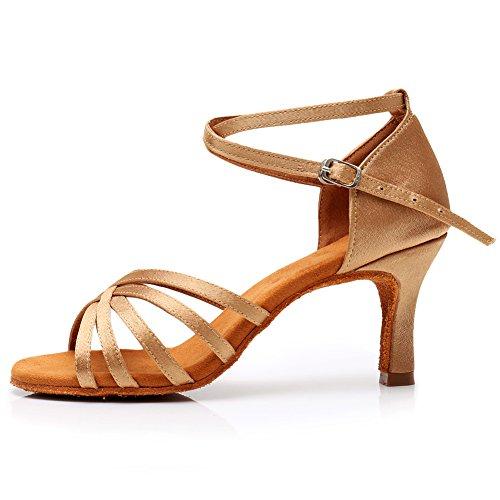 YKXLM Mujeres&Niña Zapatos Latinos de Baile Zapatillas de Baile de salón Salsa Performance Calzado de Danza,ESLP1213-7,Beige Color,EU 38