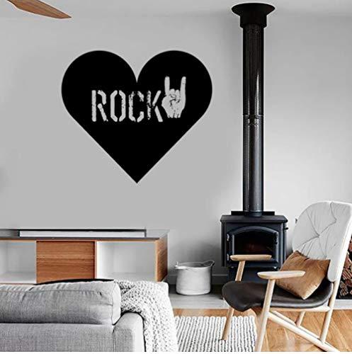 Rock Heart Love Wandtattoo Musik Geste Vinyl Wandaufkleber Cool Teens Schlafzimmer Wohnzimmer Musikzimmer Bar Kunst Wandbild 30x33 cm