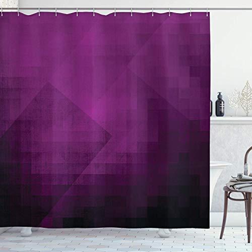 N\A Auberginen-Duschvorhang, abstrakte lila Quadrate in verblasstem Farbschema mit Pixelart im Stil der modernen Kunst, Stoff-Stoff-Badezimmer-Dekor-Set mit Haken, lila