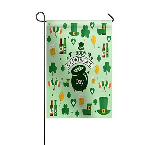 Bandiera da giardino Banner da casa Bandiera decorativa Casa All'aperto San Valentino, Acetosella Giorno di San Patrizio Elementi Leprechaun Cappello Bandiera irlandese Birra allegra Bandiera cantiere