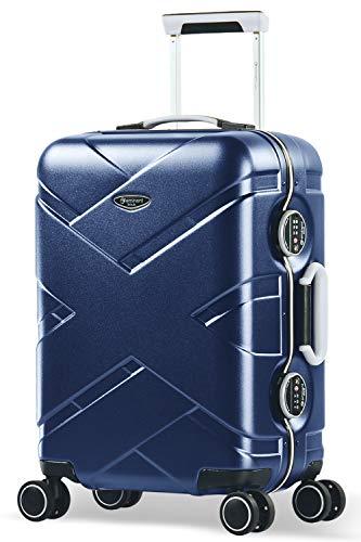 Eminent Koffer Gold Crossover S 54cm 39L Aluminiumrahmen 4 Doppelrollen 360° TSA Schloss Handgepäck Blau/Grau