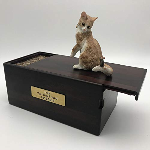 FxsD Ataúd Mascota, Letras, Personalizable, atigrado Gato Amarillo, Gato de Pelo Duro, Gatos Suministros de Sacrificio, de Madera del ataúd for Mascotas (Variety : Welsh kekey)