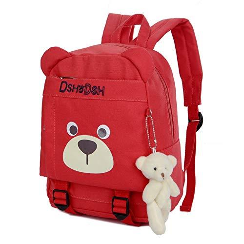Appiu Bear pendant schoolbag Teddy Bear Kindergarten backpack 3-6 grade children Backpack (Color : Red)