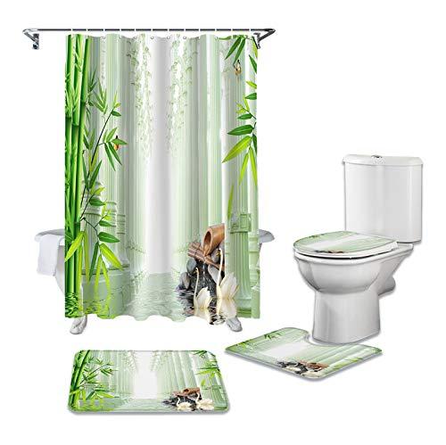 SHANQIU Badezimmer Duschvorhang Bambus Wald Tier Schwan Wasser Stein Sockel Teppich Deckel Teppich Toilettenbezug Set Bad Vorhang Matte Set H180xB150cm
