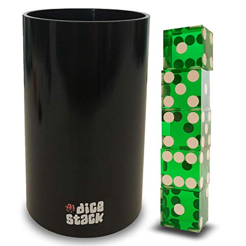 Dice Stacking Cup Set - Professional Straight Cups with 5 Razor Edges 19mm Real Casino Dice in a Box - Accessories - Magic Tricks - Green