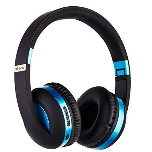 PPMM Audífonos Bluetooth con micrófono de graves profundos inalámbricos sobre la oreja con cómodas almohadillas de proteína para smartphone, tableta, portátil, ordenador, color azul