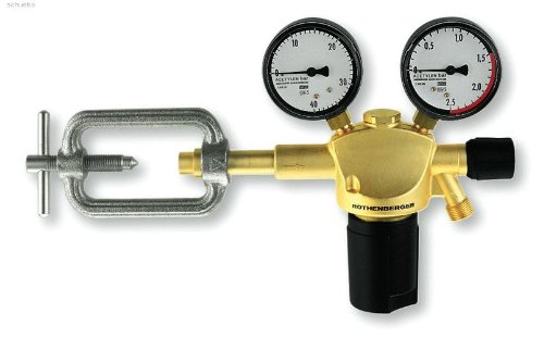 ROTHENBERGER Industrial Sauerstoff Druckminderer inkl. Flammenrückschlagventil mit 2 Manometern für Sauerstoff Mehrweg Flaschen 35634
