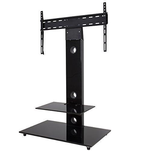 King Support TV Cantilever,Pour Écrans 32'' à 65'' LCD LED Plasma ,2 Étagères en Verre Noir Trempé, H 117.7 cm