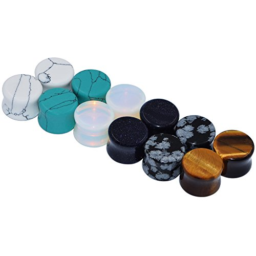 D&Min Jewelry 6 Paare Mix Organic Stein Plugs Ear Piercing Expander Flesch Tunnel Plugs 10MM