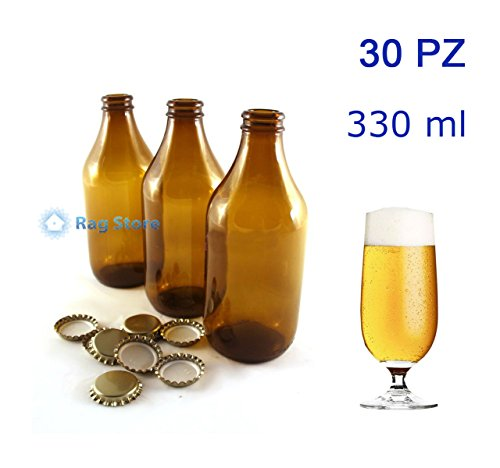 Avir 30 Bottiglie bottiglia vetro per birra bassa 330 ml - 33 cl con tappi corona Oro