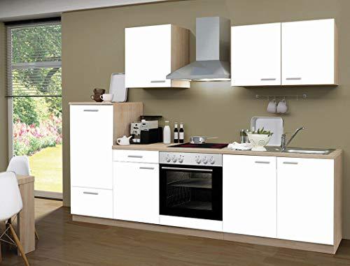 expendio Küchenzeile Regio 270 cm weiß mit E-Geräten Küchenblock Einbauküche Komplett-Küche Dekor Sonoma Eiche